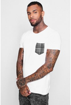 Check Chest Pocket T-Shirt, White, МУЖСКОЕ