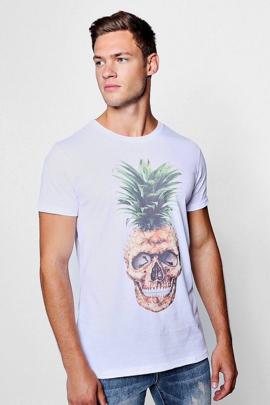 Mens White Pineapple Skull Print Longline Crew Neck T-Shirt