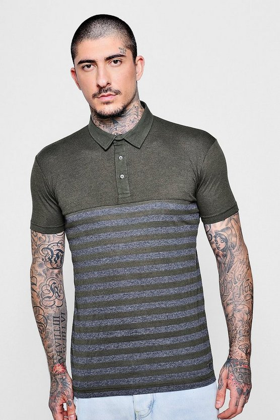 Khaki Textured Colour Block Polo