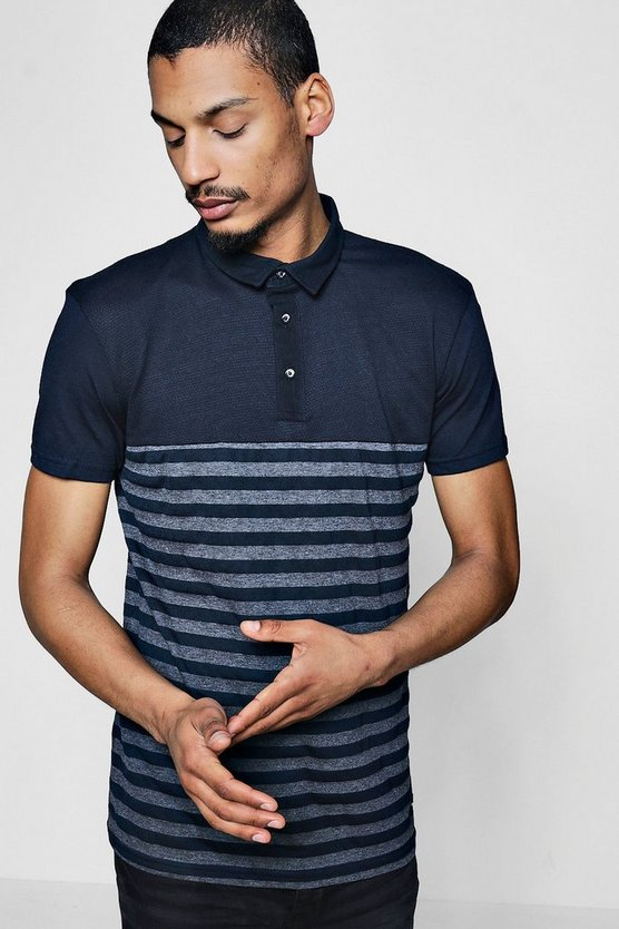 Textured Colour Block Polo