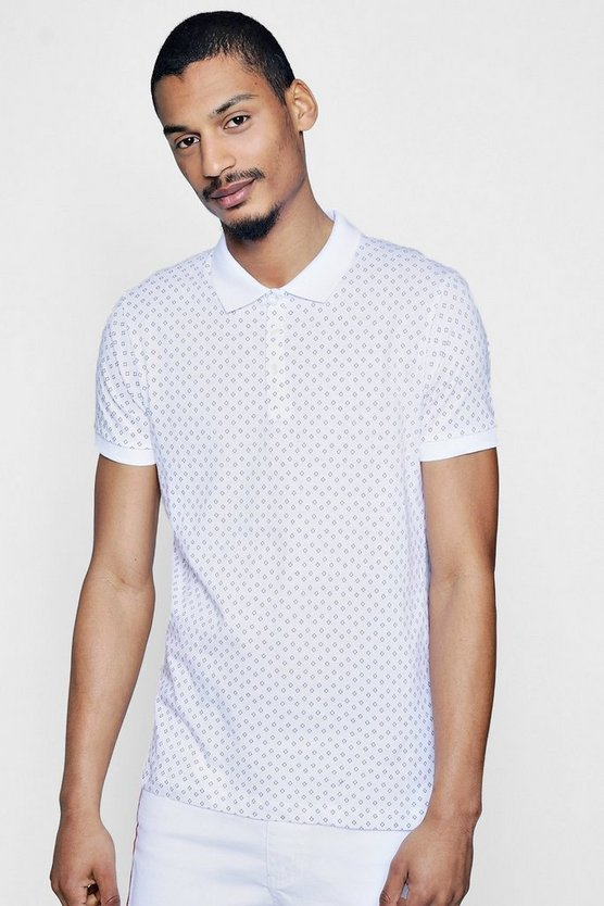 Geo Print Short Sleeve Polo