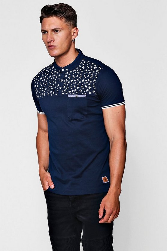 Bird Print Panel Polo With Sports Rib Sleeve