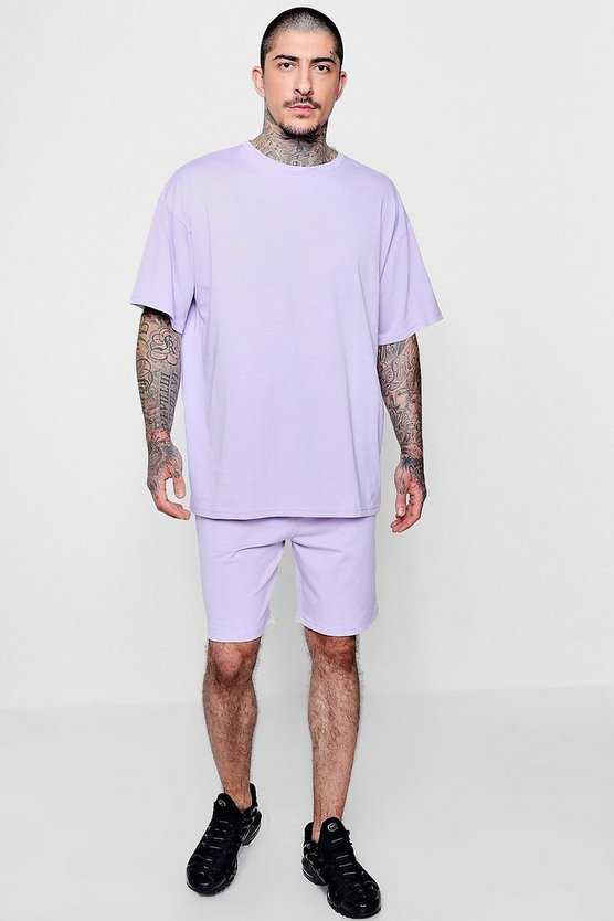 Pastel Oversized Tee and Mid Length Short Set