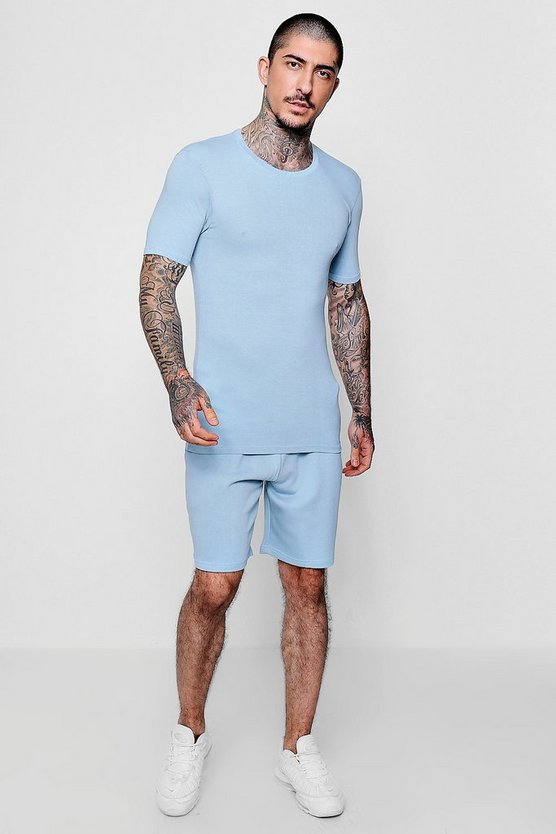 Mens Blue Pastel Muscle Fit And Mid Short Set