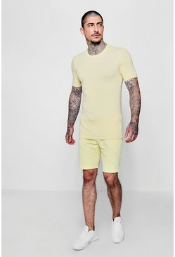 Mens Lemon Pastel Muscle Fit And Mid Short Set