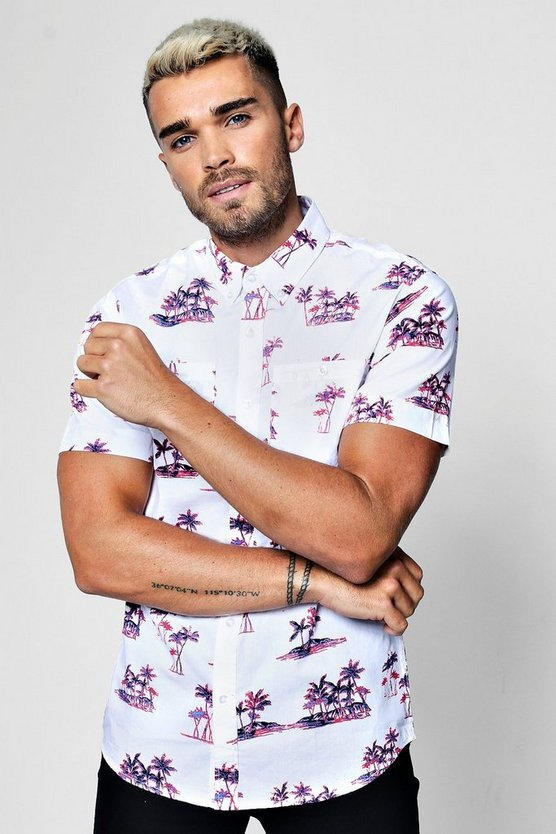 Palm Tree Print Short Sleeve Shirt