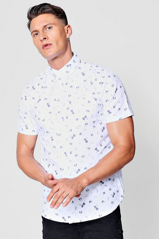 Mens White Short Sleeve Ditsy Print Shirt