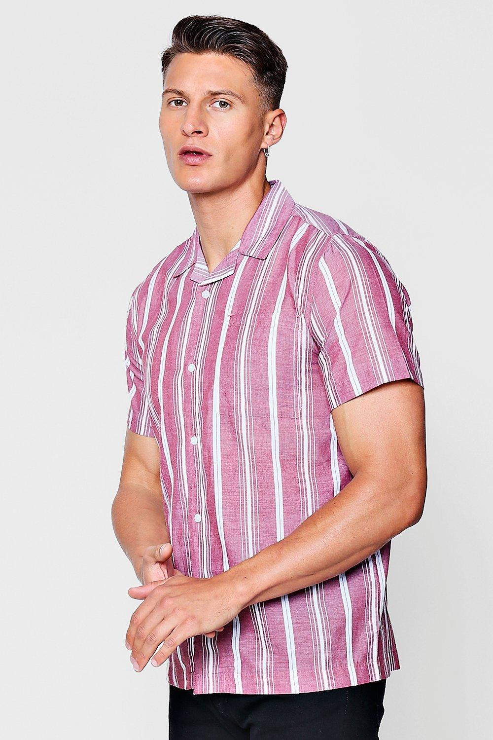 Revere Collar Short Sleeve Shirt In Stripe