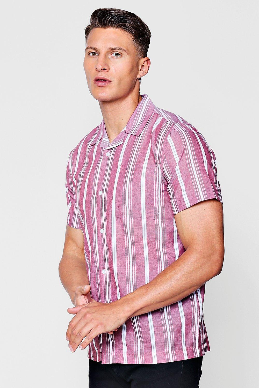 Revere Collar Short Sleeve Shirt In Stripe