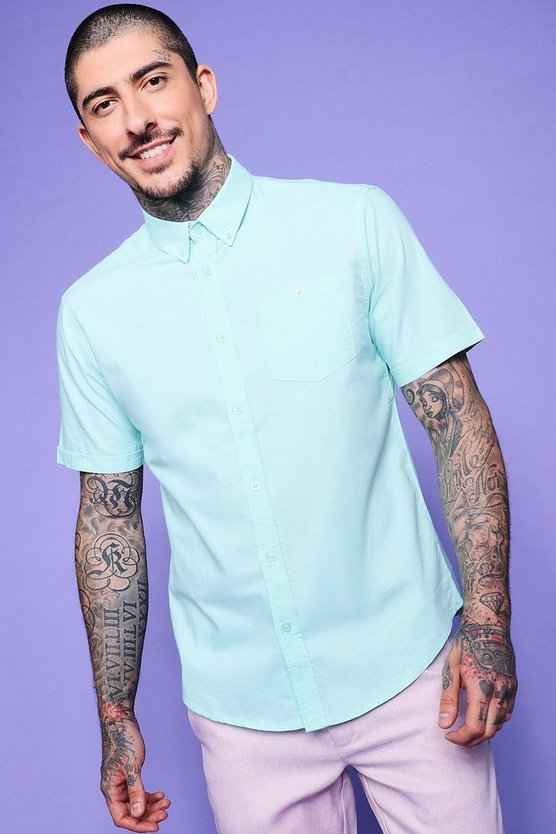 Mint Short Sleeve Oxford Shirt