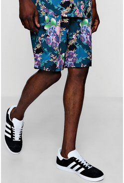 Mens Navy Floral Print Drawstring Short
