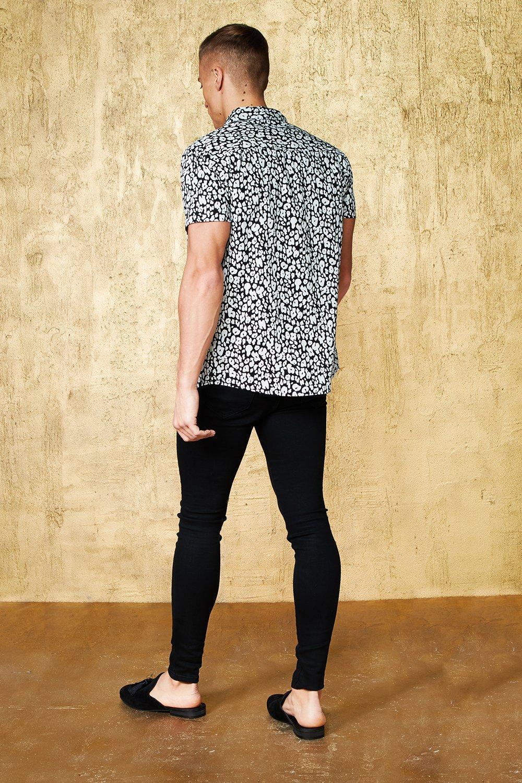 y mono Conjunto negro corta manga estampado leopardo de de camisa con SwqHXpT
