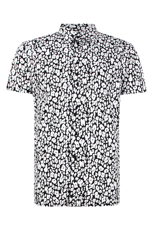 corta camisa de y con estampado Conjunto negro leopardo mono de manga dwI5qqA
