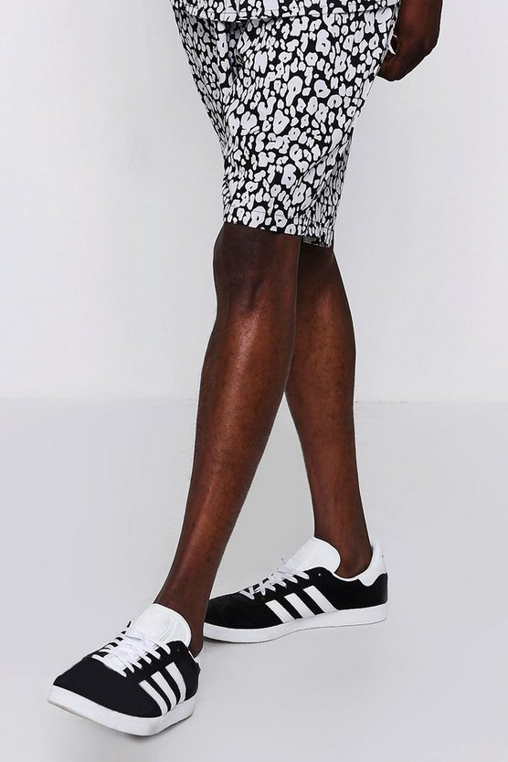Mens Black Mono Leopard Print Drawstring Short