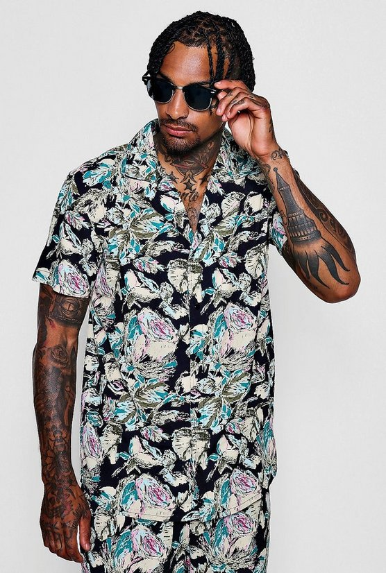 Abstract Floral Revere Short Sleeve Shirt