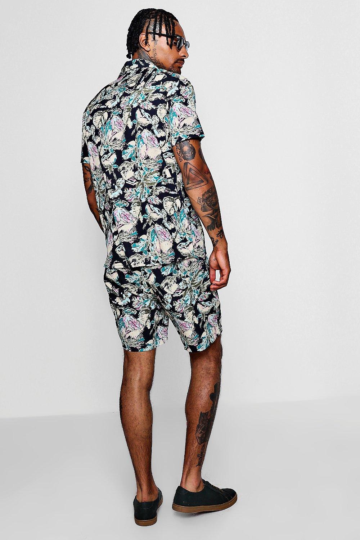 camisa corta floral con abstracto estampado Conjunto negro de reversible con manga f6qRwqHpan