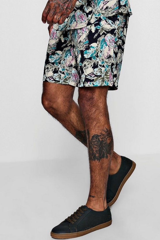 Abstract Floral Drawstring Short