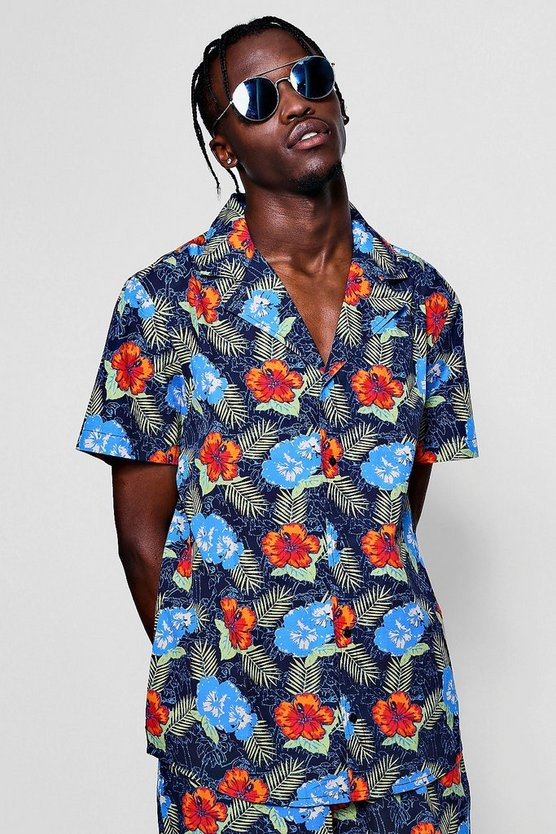 Tropical Floral Revere Short Sleeve Shirt