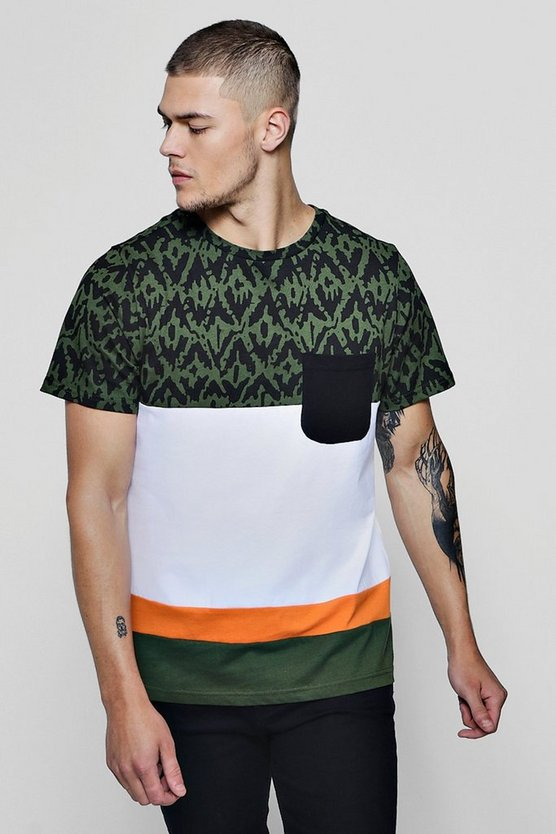 Printed Colour Block T-Shirt