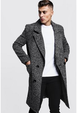 Mens Grey Textured 3/4 Smart Lined Overcoat