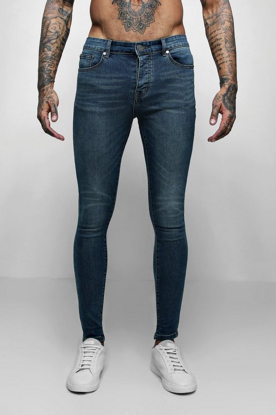 Mens Antique wash Spray On Skinny Jeans In Antique Wash