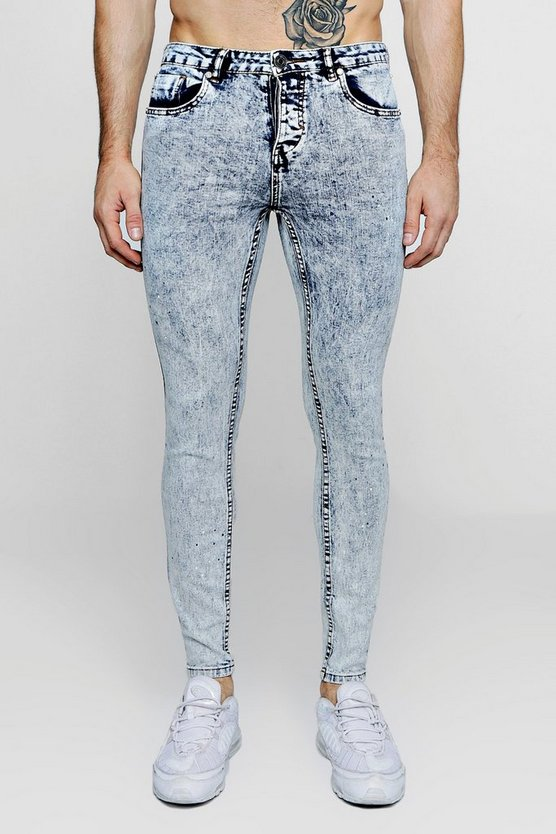 Super Skinny Acid Wash Jeans With Paint Splat