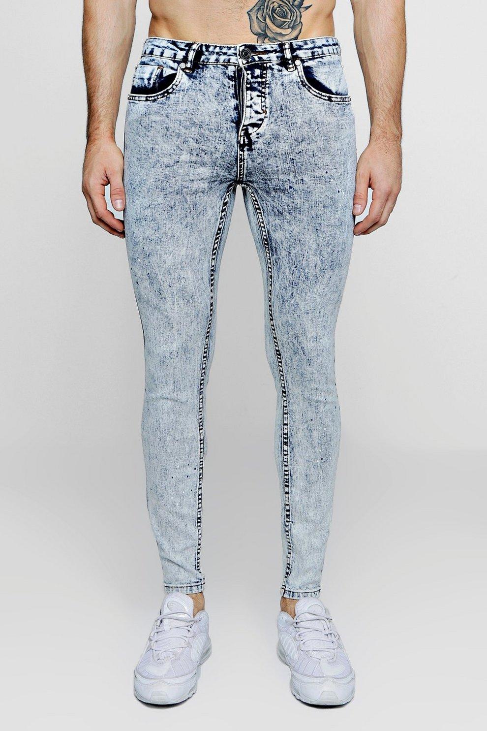 3aba07c9c307 Mens Pale blue Super Skinny Acid Wash Jeans With Paint Splat