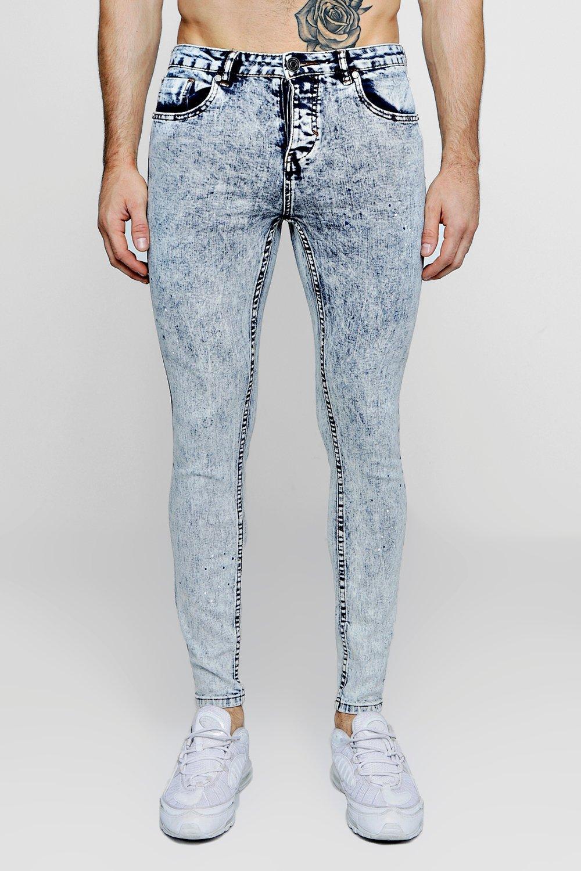 y skinny super manchas Jeans lavado pálido con pintura azul de ácido 1XUgq6g