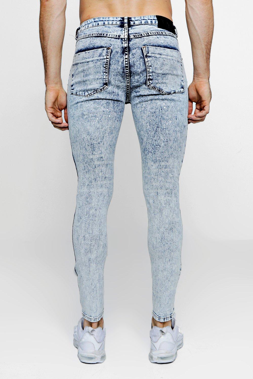 con y pálido Jeans ácido super lavado azul manchas skinny pintura de EwEXCq