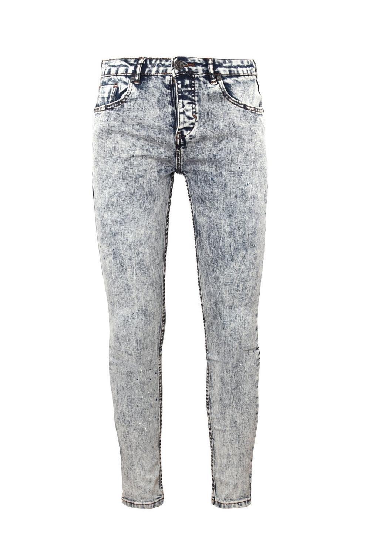 super manchas Jeans lavado pálido y azul skinny ácido de con pintura 6YwwqAdg