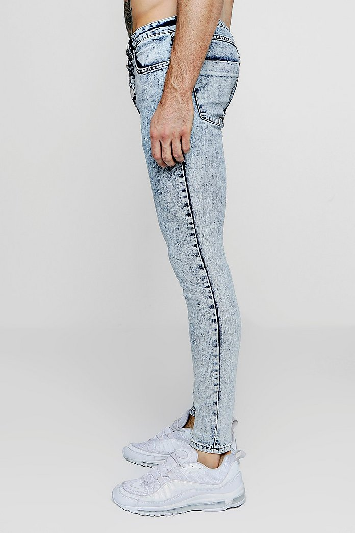 herren jeans super skinny acid wash jeans with paint splat boohoo  super skinny acid wash jeans with paint