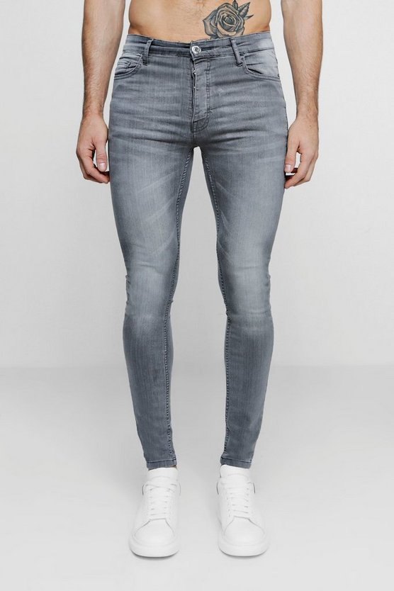 Mens Spray On Skinny Jeans In Pale Grey