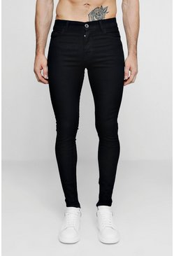 Herr Spray On Skinny Black Denim Jeans