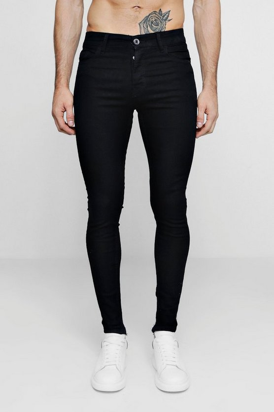 Mens Spray On Skinny Black Denim Jeans