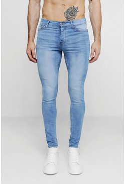 Herr Spray On Skinny Jeans In Washed Blue