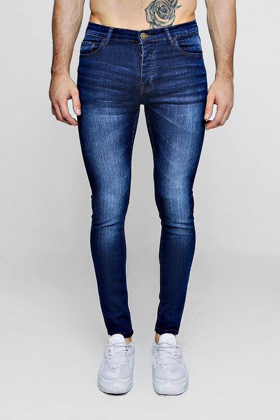 Mens Spray On Skinny Jeans In Mid Blue