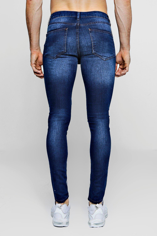 medio azul azul medio skinny Jeans rociados WO0vXf1qP