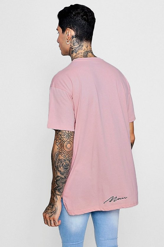 Loose-Fit T-Shirt mit MAN-Stickerei und Stufensaum, Rosé, Herren