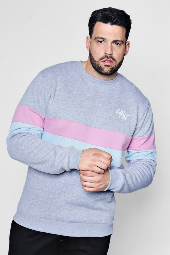 Big And Tall MAN Embroidered Colour Block Sweater