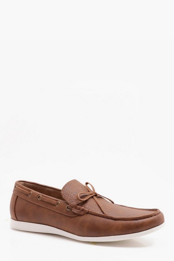 Faux Leather Woven Vamp Loafer