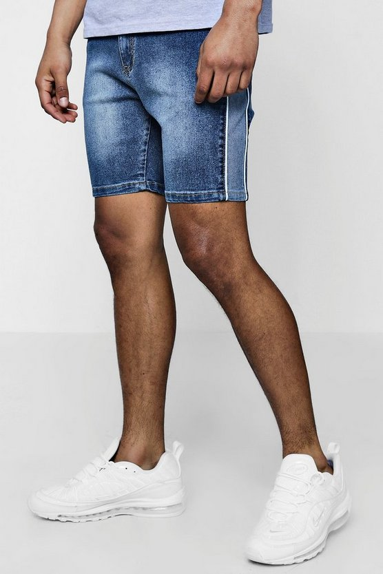 Skinny Fit Panelled Denim Shorts With Piping