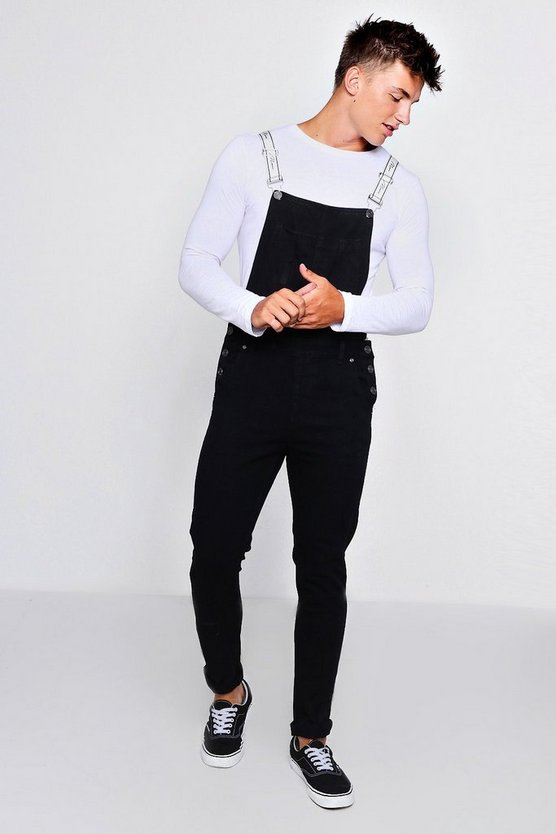 Skinny Fit Dungarees With MAN Tape Straps