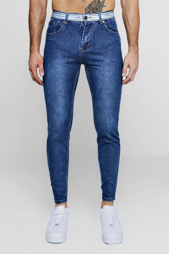 Skinny Fit Jeans With MAN Tape Waistband