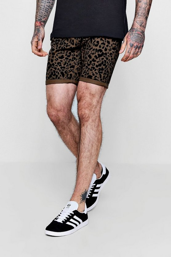 Skinny Fit Leopard Print Denim Shorts