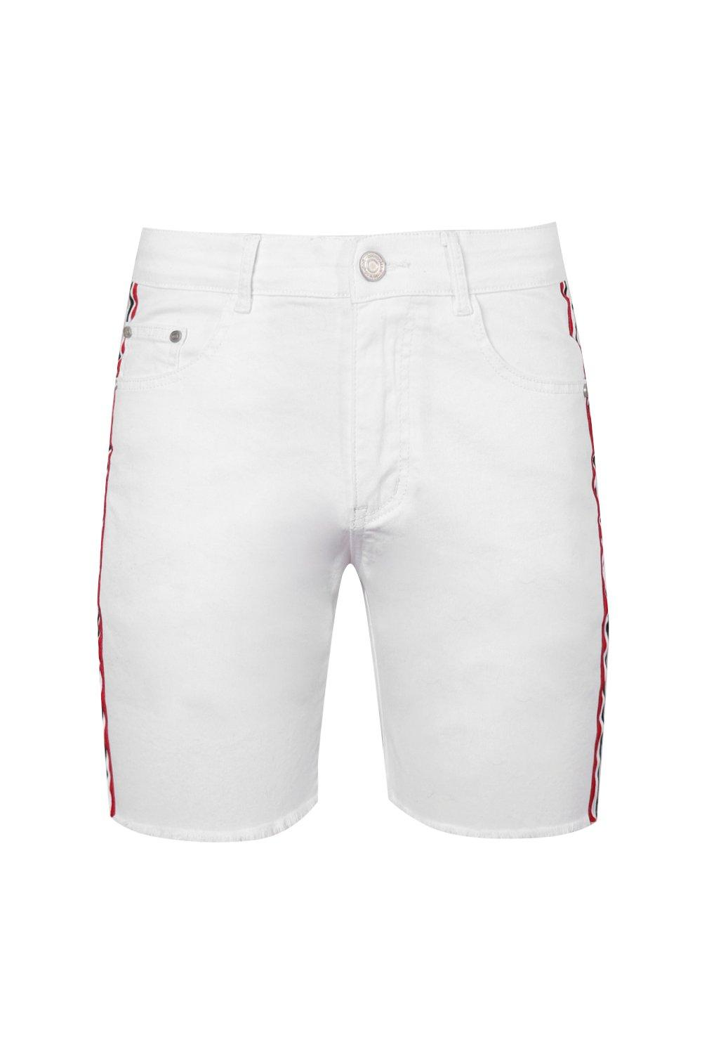 con borde en fit rematar cinta skinny con blanco sin Short denim SfYxYp