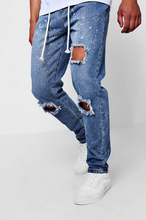 Vintage wash Slim Fit Bleach Splatter Jeans With Zip Cuff