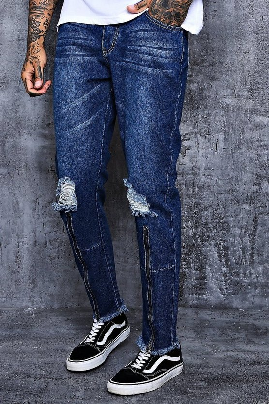 Skinny Fit Cropped Jeans With Zipped Hem
