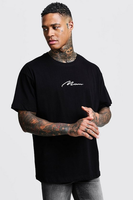 MAN T-shirt a coste con ricamo e logo, Black, Maschio