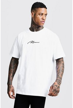 Oversized-T-Shirt mit MAN-Stickerei, Weiß, Herren