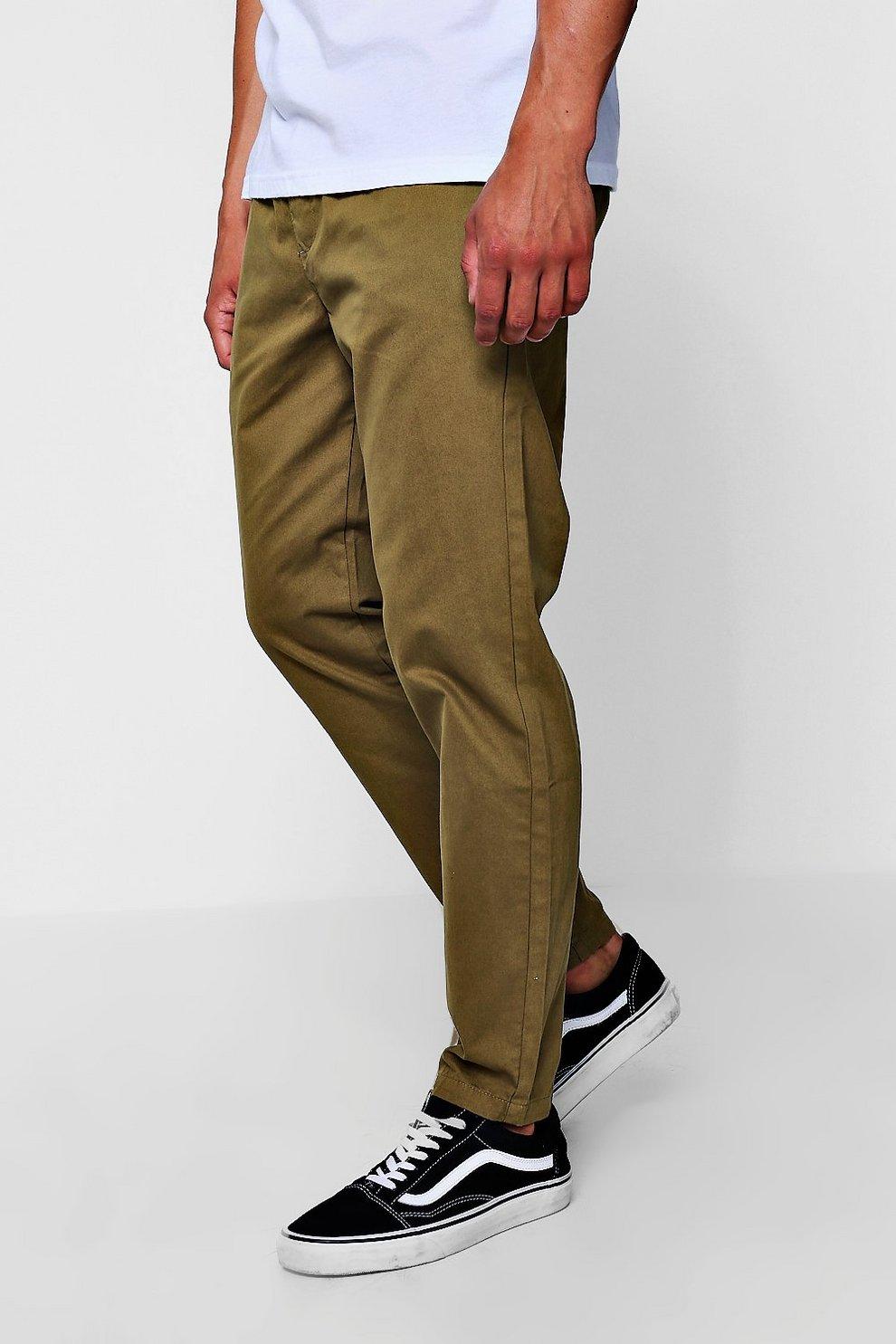 dd20e53fc579 Khaki Jogger Style Chino Trouser   Boohoo